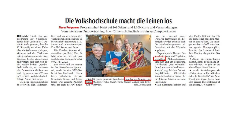 Artikel Neue Westfälische, 27-7-2016